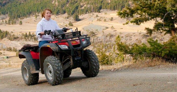 Woman on ATV